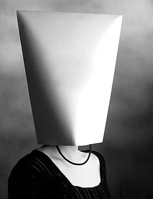 Woman wearing a paper bag over her head uid 1381253